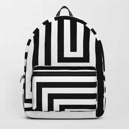 Cretan labyrinth in black and white Backpack
