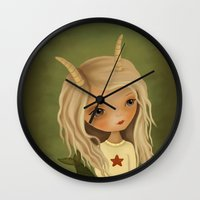capricorn Wall Clocks featuring Capricorn by The Midnight Rabbit