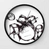 drums Wall Clocks featuring Drums by Jake Stanton