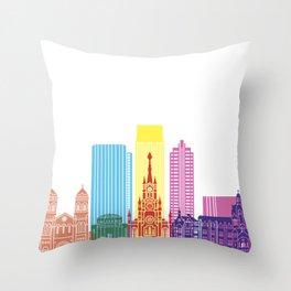 Medellin skyline pop Throw Pillow