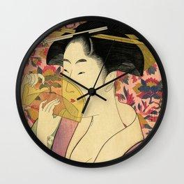 Japanese Art Print - Japanese Woman - Kushi Utamaro Wall Clock