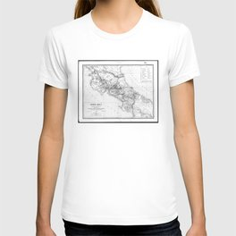 Vintage Map of Costa Rica (1903) BW T-shirt