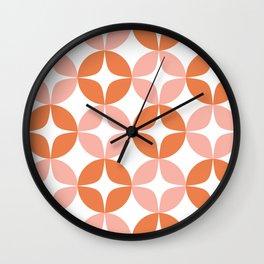 Mid Century Modern Motif Pattern in Burnt Orange and Blush Wall Clock