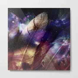feathers in space Metal Print