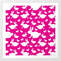 Bunny Pattern Pink and White Art Print