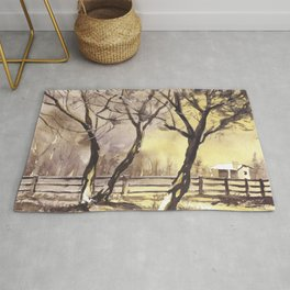 Barn fine art watercolor painting, sunset watercolor landscape artwork, watercolor giclee sunset lan Rug