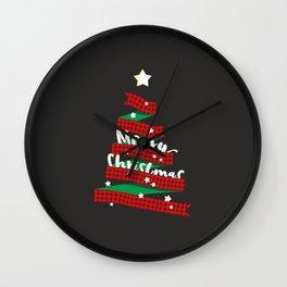 Merry Christmas Buffalo Checks Ribbon Tree Wall Clock