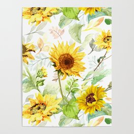 Watercolor Sunflower 3 Poster