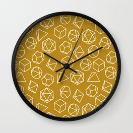 Dice Pattern in Mustard Wall Clock