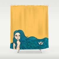 sailing Shower Curtains featuring Sailing by stardixa