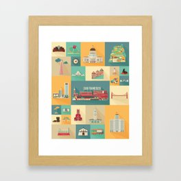 San Francisco Landmarks Framed Art Print