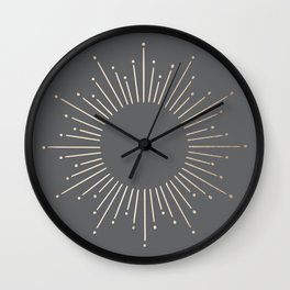 Simply Sunburst in White Gold Sands on Storm Gray Wall Clock