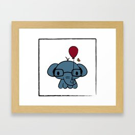 cute elephant with glasses holding a balloon Framed Art Print