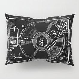 Turntable Patent - White on Black Pillow Sham