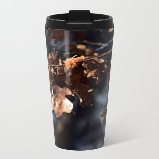 Winter oak leaves Metal Travel Mug