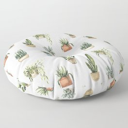 Potted Plants Watercolor Pattern Floor Pillow