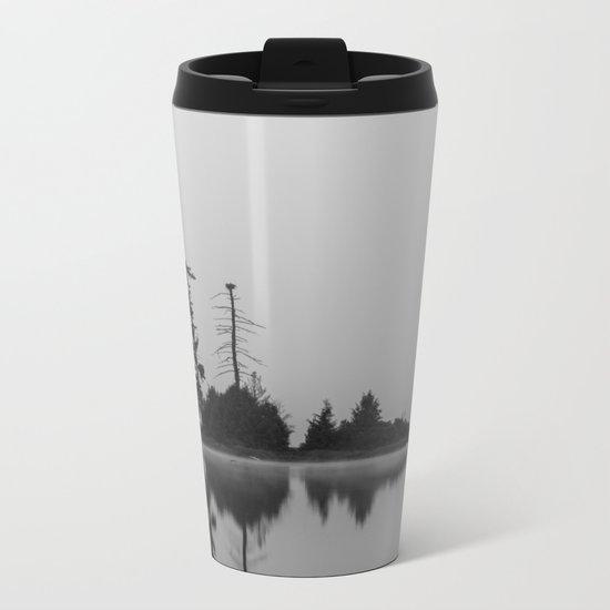 trees in the fog Metal Travel Mug