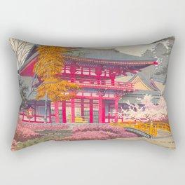 Japanese Woodblock Print Vintage Bright East Asian Red Pagoda Spring Garden Rectangular Pillow