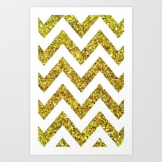 GOLD GLITTER CHEVRON Art Print