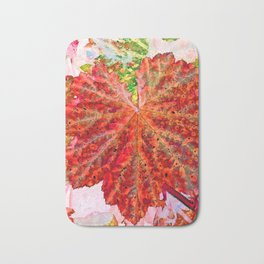 Leaves with Raindrops - Red Bath Mat