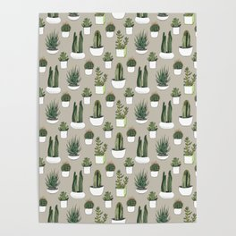 Watercolour cacti & succulents - Beige Poster