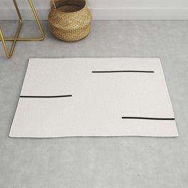 Mudcloth white black dashes Rug