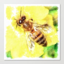 The Pollen Collector Honeybee Watercolor Canvas Print
