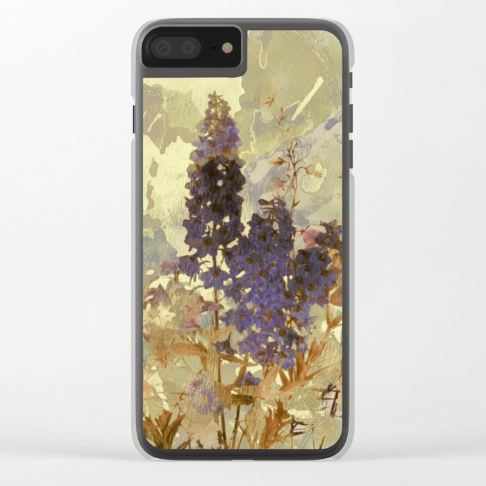 floral on beige Clear iPhone Case