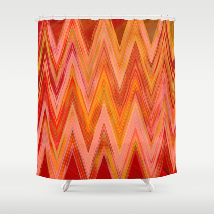 Coral Geometric Tribal Aztec Chevron Zig Zag Stripes Ikat Pattern Andes Zigzag Hipster Print Shower Curtain