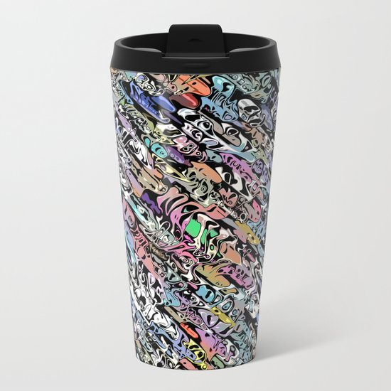 Chaotic Colorful Shapes Metal Travel Mug
