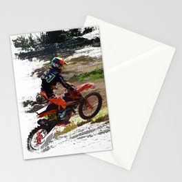On His Tail - Motocross Sports Art Stationery Cards