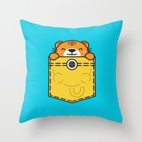 pocket Throw Pillows featuring Pocket Tiger by Steven Toang