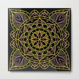 Pink and Gold Mandala Metal Print