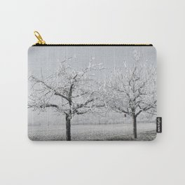 Winter Trees With Red Splash Carry-All Pouch