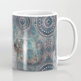 Elephant Ethnic Style Pattern Teal and Copper Coffee Mug