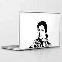 feminism Laptop & iPad Skins featuring Simone Veil | Feminism by Rue du chat qui peche