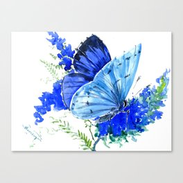 Blue Butterfly, blue butterfly lover blue room design floral nature Canvas Print