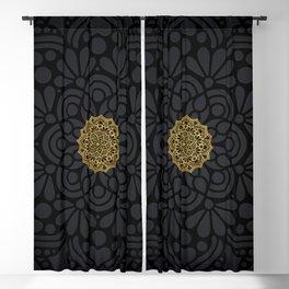 """Black & Gold Arabesque Mandala"" Blackout Curtain"