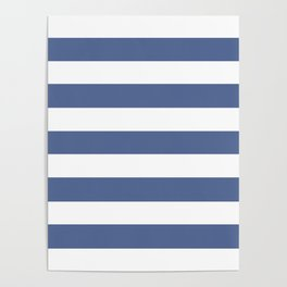 UCLA blue - solid color - white stripes pattern Poster
