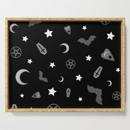 goth occult pattern Serving Tray