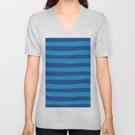 Dark Blue & Turquoise Stripes Pattern Unisex V-Neck