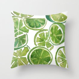 Watercolor LIMES Throw Pillow