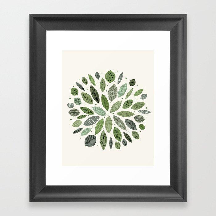 Mid-Century Green Leaves Gerahmter Kunstdruck