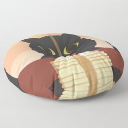 Carb Fiend aka Hungry Cat Eating Pancakes Floor Pillow