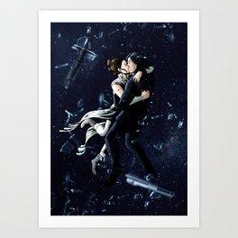 Zero Gravity Space Kiss Art Print