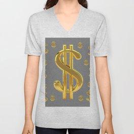 GOLDEN MONEY DOLLARS & CHARCOAL GREY  PATTERN MODERN ART Unisex V-Neck