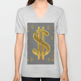 GOLDEN MONEY DOLLARS & CHARCOAL GREY  PATTERN MODERN ART Unisex V-Neck