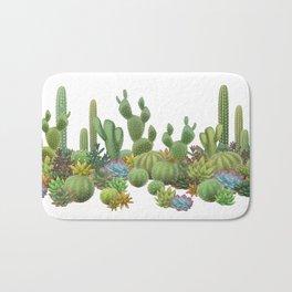 Milagritos Cacti on white background. Bath Mat