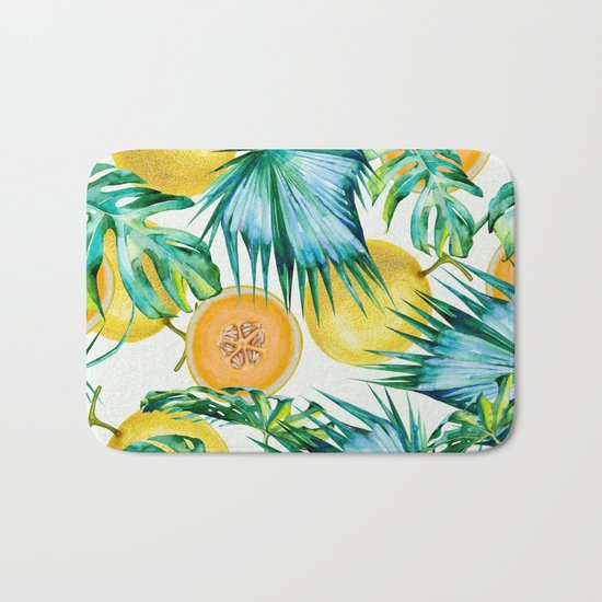 Leaf and melon pattern Bath Mat