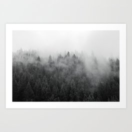Black and White Mist Ombre Art Print